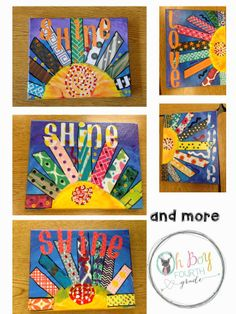 Oh Boy Grade: May This post has the beginning instructions to create this. On canvas, using acrylic paints, scrapbook paper, sharpies Canvas Art Projects, Spring Art Projects, School Art Projects, Diy Projects, Kindergarten Art Lessons, Art Lessons Elementary, Jr Art, 4th Grade Art, Art Classroom