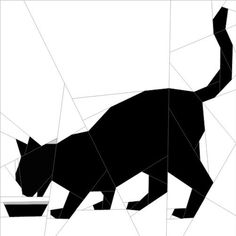 "Silhouette Cat #10 10""(26 cm) Paper Pieced patterns quiltartdesigns.blogspot.com"