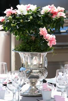 I love using champagne buckets as a  vases, rose bush in a champange bucket...