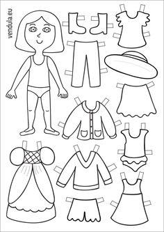 12 A Set Of Different Types Of Clothing Royalty Free Cliparts, Vectors, And Stock Illustration. Paper Doll Template, Paper Dolls Printable, Easter Egg Coloring Pages, Colouring Pages, Fun Crafts, Crafts For Kids, Body Preschool, American Heritage Girls, Ugly Dolls