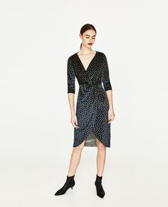 ZARA - WOMAN - POLKA DOT DRESS WITH CROSSOVER NECKLINE