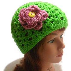 Crochet Open Stitch Beanie Hat with Pink Flower in Spring Green
