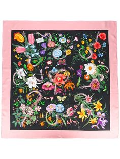 Gucci Floral Snake print scarf