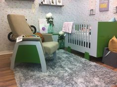Urban Glider from Dutailier and Papaya Crib at Babyland - Vaughan, Ontario. Baby Needs, Baby Furniture, Baby Registry, Baby Essentials, Gliders, Ontario, Cribs, Car Seats, Toddler Bed