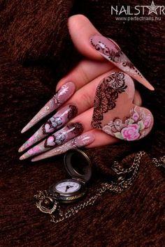 Vintage, Valentine Competitive Stiletto Nail Art