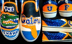 "Hand painted Florida Gator shoes in Acrylic fabric paint, DIY. Check out ""Laura's Custom Kicks"" on Facebook to view my portfolio or order your own pair of anything! Email me at l_tenneson@hotmail.com"