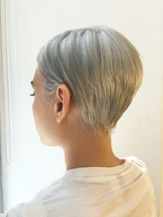 Silver double process on cute short hair