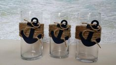 Set of 3 Nautical Vase Centerpieces - Anchor Navy Boating Boat Coastal Wedding. Set of 3 Nautical Coastal Wedding Centerpieces, Nautical Centerpiece, Baby Shower Centerpieces, Anchor Wedding Decorations, Nautical Baby Shower Decorations, Diy Centerpieces, Baby Shower Marinero, Anchor Baby Showers, Sand Candles