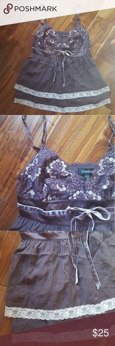 bebe Lace Babydoll Tank Dark brown with off white lace - adjustable straps - layered look but not actual layers - no rips or stains bebe Tops Tank Tops
