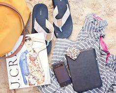 Beach Bag Essentials   Longchamp Le Pliage, J.Crew flip-lops, iPhone and more