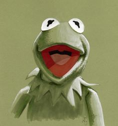 Kermit the Frog by AllisonSohn.deviantart.com on @deviantART done on colored Canson paper with marker and paint