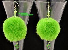 Mint Julep Glamourpuss pom pom earrings. Handmade pom poms in mint green with…