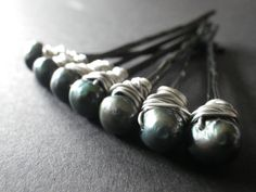 Pearl Bobby Pins Green Teal Date Night Prom Set of by CassieVision, $16.50