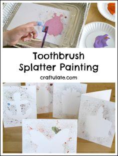 Toothbrush Splatter Painting - a fun way for kids to make art!