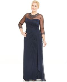 Patra Plus Size Embellished Illusion Draped Gown | macys.com