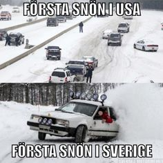 First snow in USA and first snow in Sweden. Welcome To Sweden, Funny Memes, Hilarious, Funny Comics, Funny Posts, Volvo, I Laughed, Fun Facts, Haha