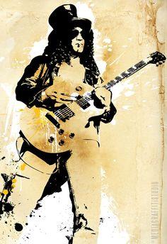 SLASH Guns n Roses  Rock and Roll music art by mediagraffitistudio