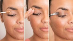 3. To prevent your eye shadow from falling off your lid and settling in the creases, prime your eyelids first with a dab of concealer. If you can't justify spending extra on eye shadow primer, a dab of concealer works just as well.