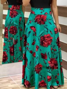Shop Short Sleeve Floral Print Maxi Dress right now, get great deals at divaslily Casual Dresses, Casual Outfits, Fashion Dresses, Look Thinner, Floral Print Maxi Dress, Basic Outfits, Cute Skirts, Casual Looks, Floral Prints