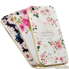 ETERINS 3D Cover Case Flower Case for iPhone 6 s Case Cover Soft Silicone Case Embossed 3D Flower Drawing Vintage Style