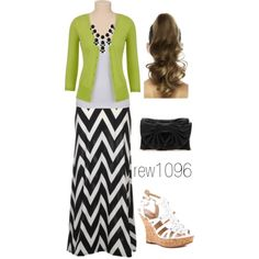 """Green & Chevron"" by rew1095 on Polyvore minus the shoes...."