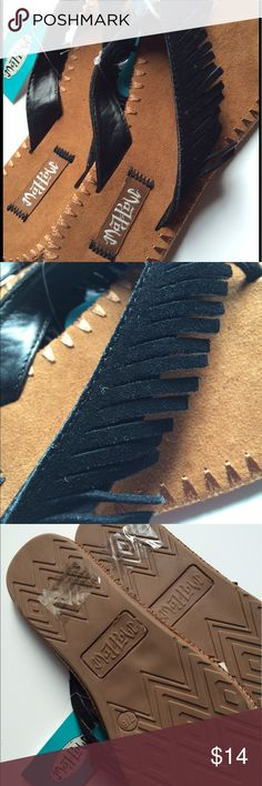NWT  Mad Love size med 7/8 fringe w/ suede NWT black flip flop/sandal size med 7/8, but I feel it's fits like a 7 for sure ! Mad Love Shoes Sandals
