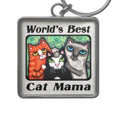 World's Best Cat Mama Kitty Lover's Keychain @zazzle