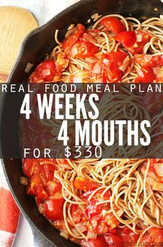 Monthly meal plan on a budget - this real food meal plan is for anyone looking to save money on food. It feeds a family of 4 for $330, includes simple recipes and ideas for breakfast, lunch and dessert. Designed for clean eating whole foods, a great meal plan for eating healthy on a budget! :: DontWastetheCrumbs.com