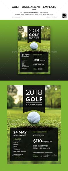 Vector illustration of golf tournament invitation layout or poster - golf tournament flyer template