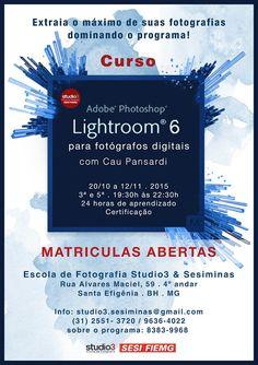 """ESCOLA DE FOTOGRAFIA STUDIO3/ SESIMINAS: CURSO ROOM 6 PARA FOTÓGRAFOS DIGITAIS"""" . MAT..."""