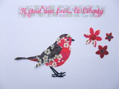 """Applique thermocollant oiseau en tissu liberty Mitsi gris et hot pink, """"Petit rouge-gorge en liberty""""."""