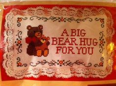 Cross Stitch Pillow Kit Bear Hug by Creative Circle 2411 - Factory Sealed