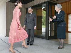 On April 18, 2017, Crown Princess Victoria is greeted by Japan's Emperor Akihito and Empress Michiko upon her arrival for luncheon at the Imperial Palace in Tokyo.