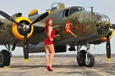 "2015 Pinup Girl Kelly with LAM's B-25 ""Georgie's Gal"""