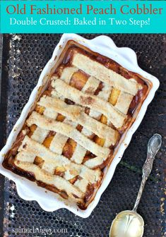 Post image for Old Fashioned Peach Cobbler with a Double Crust via @angelaroberts spinachtiger.com