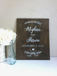 Dark stained plywood hand painted welcome sign. Custom wedding signage. Keepsake and home decor. Anniversary or housewarming gift.