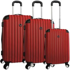 The Expandable Spinner Luggage features easy-glide spinner wheels on each four corners for smooth transporting. It also features a telescopic handle, fully-lined interior with pockets, and two roomy front pockets.