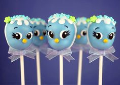 The cuteness is overwhelming!  Blue Bird Cake Pops by Bakerella