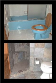 A door-less walk in shower that can be done in small spaces!  Love this!