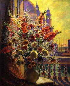 Still Life in Venice by William Samuel Horton, c. 1920. Oil on canvas American Impressionism, Impressionism Art, Art Folder, Impressionist Artists, Bunch Of Flowers, 3 Arts, Minimalist Art, Weird Facts, Van Gogh