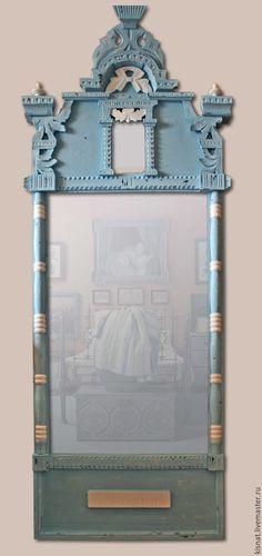 """Купить Рама старинная с зеркалом """"Голубая"""" - голубой, зеркало настенное, зеркало в раме"""