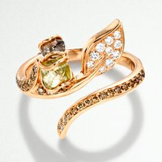 18ct rose gold torque ring, cinnamon, white and rough diamonds
