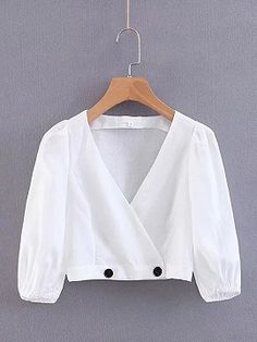 White V-neck Puff Sleeve Women Crop Shirt Edgy Outfits, Fashion Outfits, Fashion 2017, Fashion Clothes, Fashion Brands, Fashion Online, Womens Fashion, Stylish Blouse Design, Blouse Neck Designs