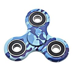 Amalen Fidget Toy Hand Spinner Camouflage, Stress Reducer Relieve Anxiety and Boredom Camo Blue