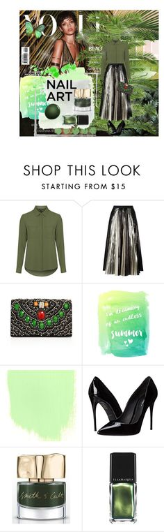 """""""Green With Envy: Wintery Nail Polish Contest"""" by elem-mayara ❤ liked on Polyvore featuring beauty, Bodas, National Geographic Home, Topshop, Proenza Schouler, Alice + Olivia, Dolce&Gabbana, Smith & Cult, Illamasqua and NARS Cosmetics"""