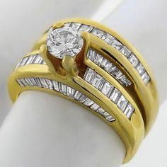 diamond 18k yellow gold engagement ring and wedding band set 2