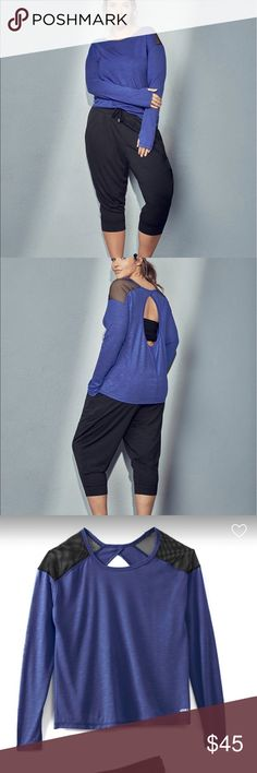 Adore Me Namia Plus Size Jogger Set 3X Active Jogger Set Polyester/Rayon/Spandex Long sleeve top with fishnet detail on shoulders and thumb holes Keyhole back Long pant with drawstring and elastic waistband Pocket detail Dazzling Blue/Black Melange size 3X or 22/24 adore me Pants Track Pants & Joggers