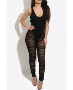 Black Mesh See Through Sexy Jumpsuit High Qualilty
