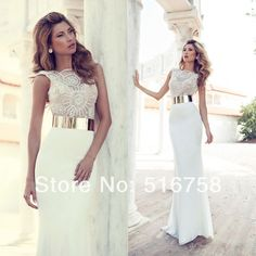 High Neck Heavy Beaded Bodice Tight Long Gold Belt Party Dress Evening Gowns White Prom Dresses 2014