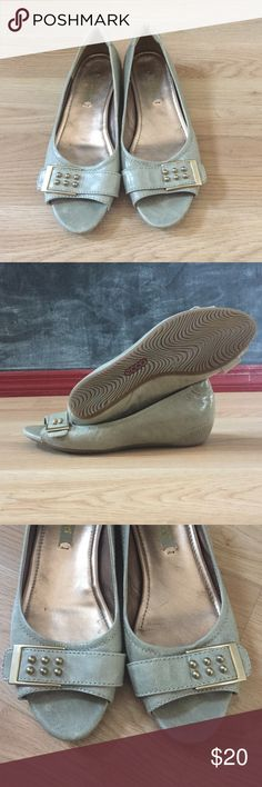 Ecco Leather Peep-Toe Wedge Adorable blue-grey peep-toe flats (with just a little wedge) and bronze detail.  Great used condition, only wore a couple times. Small scrape on side as shown in 4th picture. Ecco Shoes Flats & Loafers
